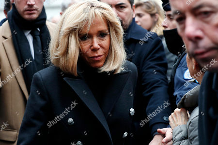 French First Lady Brigitte Trogneux leaves the funeral ceremony for French composer Michel Legrand at the Saint Alexandre Nevsky orthodox church, in Paris