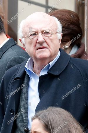 French composer Vladimir Cosma leaves the funeral ceremony for French composer Michel Legrand at the Saint Alexandre Nevsky orthodox church, in Paris