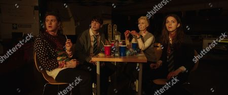 Stock Image of Malcolm Cumming as John, Christopher Leveaux as Chris Wise, Sarah Swire as Steph North and Ella Hunt as Anna Shepherd