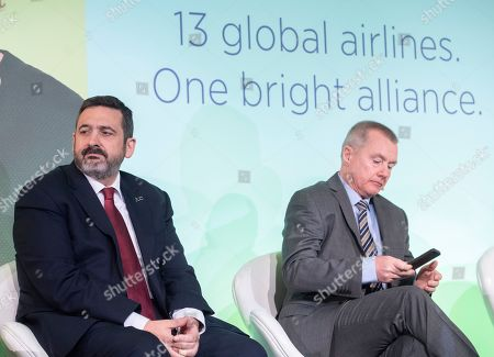 Stock Image of British Airways CEO Alex Cruz (L) and IAG CEO Willie Walsh (R) attend a press conference in London, Britain, 01 February 2019. The press conference with the chief executives of the airlines from Oneworld Alliance was organized to mark the 20th anniversary of the alliance. Oneworld is an alliance of airlines that has carried almost seven billion people since launch and includes British Airways, Iberia, American Airlines, Cathay Pacific, Japan Airlines, Qantas, Qatar Airways among others.