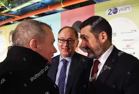 Stock Photo of British Airways CEO Alex Cruz (R), Iberia CEO Luis Gallego (C) and IAG CEO Willie Walsh (L) talk during a press conference in London, Britain, 01 February 2019. The press conference with the chief executives of the airlines from Oneworld Alliance was organized to mark the 20th anniversary of the alliance. Oneworld is an alliance of airlines that has carried almost seven billion people since launch and includes British Airways, Iberia, American Airlines, Cathay Pacific, Japan Airlines, Qantas, Qatar Airways among others.