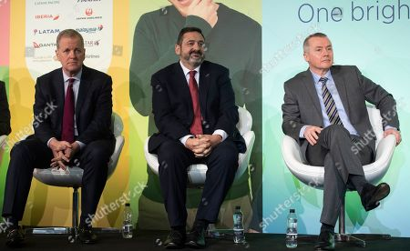 American Airlines CEO Doug Parker (L), British Airways CEO Alex Cruz (C) and IAG CEO Willie Walsh (R) attend a press conference in London, Britain, 01 February 2019. The press conference with the chief executives of the airlines from Oneworld Alliance was organized to mark the 20th anniversary of the alliance. Oneworld is an alliance of airlines that has carried almost seven billion people since launch and includes British Airways, Iberia, American Airlines, Cathay Pacific, Japan Airlines, Qantas, Qatar Airways among others.