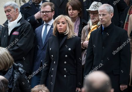 French first lady Brigitte Trogneux (C) attends the funeral of the late French composer Michel Legrand at the Saint-Alexandre-Nevsky Orthodox church in Paris, France, 01 February 2019. Oscar-winning Legrand, who composed music scores for classic films such as 'The Umbrellas of Cherbourg', died aged 86 on 26 January 2019.