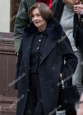 Macha Meril, widow of the late French composer Michel Legrand, follows the coffin of her husband as it is carried out of the Saint-Alexandre-Nevsky Orthodox church in Paris, France, 01 February 2019. Oscar-winning Legrand, who composed music scores for classic films such as 'The Umbrellas of Cherbourg', died aged 86 on 26 January 2019.