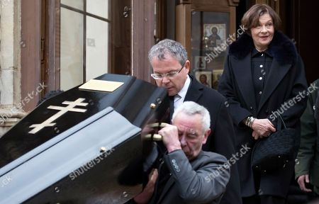 Macha Meril (2-R), widow of the late French composer Michel Legrand, follows the coffin of her husband as it is carried out of the Saint-Alexandre-Nevsky Orthodox church in Paris, France, 01 February 2019. Oscar-winning Legrand, who composed music scores for classic films such as 'The Umbrellas of Cherbourg', died aged 86 on 26 January 2019.