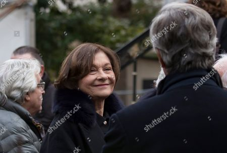 Macha Meril, widow of the late French composer Michel Legrand, arrives at the Saint-Alexandre-Nevsky Orthodox church for Legrand's funeral, in Paris, France, 01 February 2019. Oscar-winning Legrand, who composed music scores for classic films such as 'The Umbrellas of Cherbourg', died aged 86 on 26 January 2019.