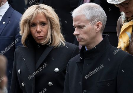 French first lady Brigitte Trogneux (L) attends the funeral of the late French composer Michel Legrand at the Saint-Alexandre-Nevsky Orthodox church in Paris, France, 01 February 2019. Oscar-winning Legrand, who composed music scores for classic films such as 'The Umbrellas of Cherbourg', died aged 86 on 26 January 2019.