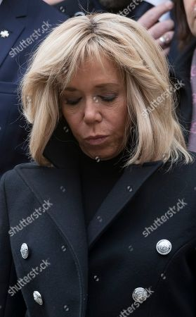French first lady Brigitte Trogneux attends the funeral of the late French composer Michel Legrand at the Saint-Alexandre-Nevsky Orthodox church in Paris, France, 01 February 2019. Oscar-winning Legrand, who composed music scores for classic films such as 'The Umbrellas of Cherbourg', died aged 86 on 26 January 2019.