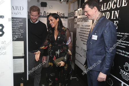 Meghan Duchess of Sussex and Prince Harry visit the Old Vic theatre, Tom Morris, Artistic director showing the royal couple part of the 'noises off' exhibition.