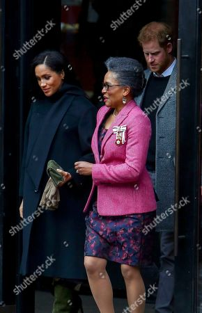Prince Harry (R) and his wife Meghan Duchess of Sussex (L) with Lord Lieutenant of Bristol Peaches Golding (C) leave after visiting Bristol Old Vic theatre, in Bristol, Britain, 01 February 2019.