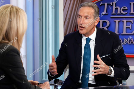 "Stock Image of Dana Perino, Howard Schultz. Former Starbucks CEO Howard Schultz is interviewed by FOX News Anchor Dana Perino for her ""The Daily Briefing"" program, in New York. Schultz spent more than 30 years at Starbucks, growing a handful of coffee shops into a much-admired global brand. But now, as the billionaire mulls running for president as an independent, Starbucks will have to tread carefully"