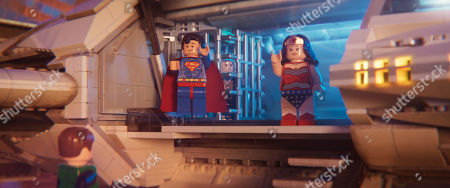 Stock Image of Green Lantern (Jonah Hill), Superman (Channing Tatum) and Wonder Woman (Cobie Smulders)