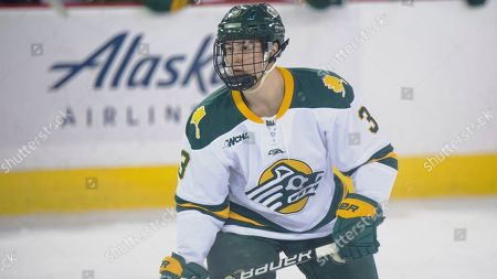 Alaska Anchorage's Andrew Lane awaits the puck during an NCAA college hockey game against Michigan Tech, in Anchorage, Alaska