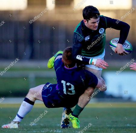 Scotland Clubs vs Ireland Club XV. Ireland's Eamonn Mills with Robbie Kay of Scotland