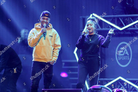 Angela Yee, Terrence J. Angela Yee and Terrence J perform during the Bud Light Super Bowl Music Fest EA SPORTS BOWL at State Farm Arena, in Atlanta