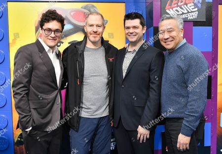 Phil Lord, Toby Emmerich, Christopher Miller and Kevin Tsujihara