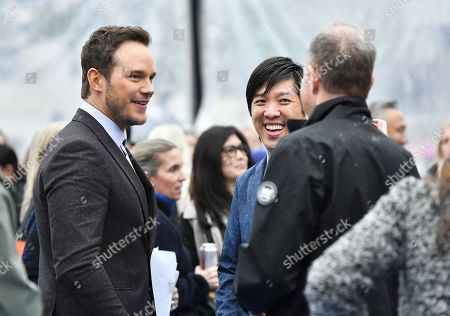 Chris Pratt, Dan Lin and Toby Emmerich
