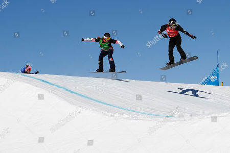 Raffaella of Italy, left, Chloe Trespeuch of France follow Lindsey Jacobellis of USA in the Ladies' Snowboard Cross competition at Solitude Mountain Resort for the FIS Snowboarding World Championships in Solitude, Utah, USA, 01 February 2019.