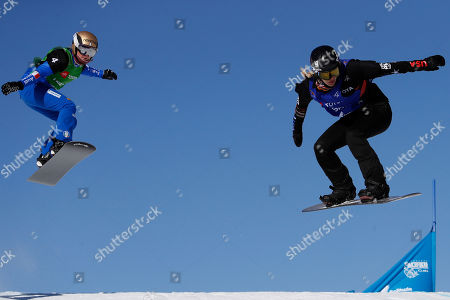 Michele of Italy, left follows Lindsey Jacobellis of USA in the Snowboard Cross competition at  Solitude Mountain Resort for the FIS Snowboarding World Championships in Solitude, Utah, USA, 01 February 2019.