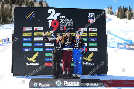 (L-R) Second placed Charlotte Bankes of Great Britain, winner Eva Samkova of Czech Republic and third placed Michela Moioli of Italy stand on the podium after their Women's Snowboard Cross competition at Solitude Mountain Resort for the FIS Snowboarding World Championships in Solitude, Utah, 01 February 2019.