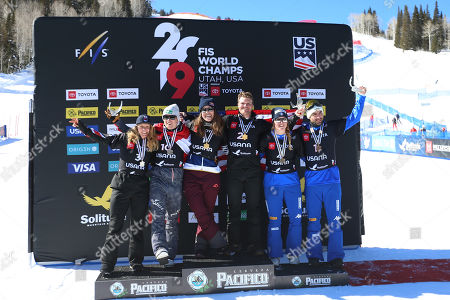 (L-R) The Ladies's and Men's winners of the Snowboard Cross competition: Charlotte Bankes of Great Britain, Hanno Douschan of Austria, Eva Samkova of Czech Republic, Mick Dierdorff of USA, Michela Moioli of Italy and Emanuel Perathoner of Italy celebrate on the podium after their Snowboard Cross competitions at Solitude Mountain Resort for the FIS Snowboarding World Championships in Solitude, Utah, 01 February 2019.