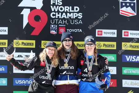 Charlotte Bankes of Great Britain, second place finisher, left, Eva Samkova of Czech Republic, first place finisher and Michela Moioli of Italy third place finisher stand on the podium after their Women's Snowboard Cross competition at Solitude Mountain Resort for the FIS Snowboarding World Championships in Solitude, Utah, 01 February 2019.