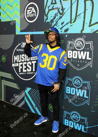 Metro Boomin arrives during the Bud Light Super Bowl Music Fest EA SPORTS BOWL at State Farm Arena, in Atlanta