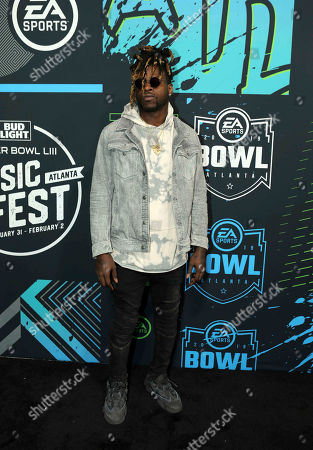 Jay Ajayi arrives during the Bud Light Super Bowl Music Fest EA SPORTS BOWL at State Farm Arena, in Atlanta