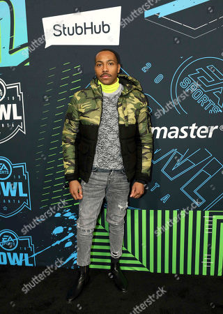 Jeremie Harris arrives during the Bud Light Super Bowl Music Fest EA SPORTS BOWL at State Farm Arena, in Atlanta