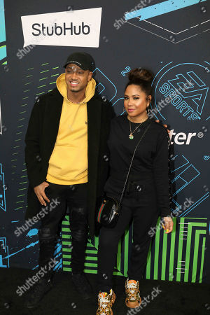 Angela Yee, Jerrence J. Angela Yee and Jerrence J arrives during the Bud Light Super Bowl Music Fest EA SPORTS BOWL at State Farm Arena, in Atlanta