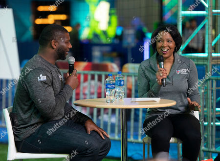 Hall of Fame Running Back LaDainian Tomlinson participates in a Q&A with Nichelle Evans, Managing Director of Travel, Entertainment & Affinity at Barclays, before running through a VIP clinic with NFL Extra Points cardmembers, in Atlanta at Super Bowl Experience in the Georgia World Congress Center. Select NFL Extra Points cardmembers redeemed points to participate in this once-in-a-lifetime opportunity to learn from the Hall of Fame player