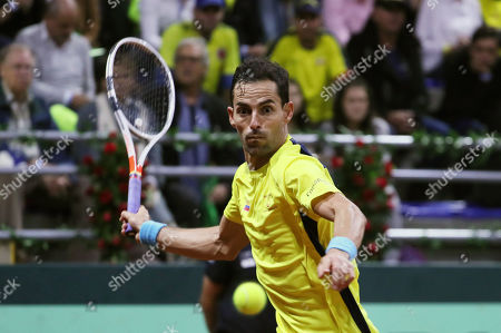 Santiago Giraldo of Colombia in action against Elias Ymer of Sweden during the Davis Cup qualifier between Colombia and Sweeden in Bogota, Colombia, 01 February 2019.
