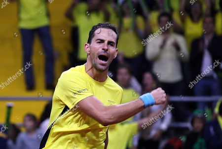 Santiago Giraldo of Colombia celebrates winning against Elias Ymer of Sweden during the Davis Cup qualifier between Colombia and Sweeden in Bogota, Colombia, 01 February 2019.