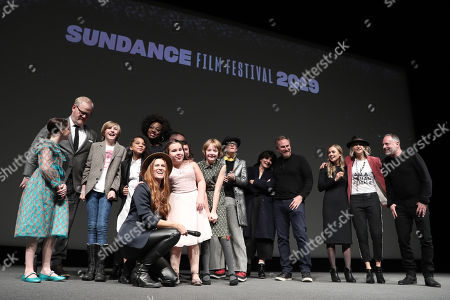 Stock Image of Directors Bert and Bertie, Mckenna Grace, Charlie Shotwell, Johanna Colon, Bella Higginbotham, Actor Jim Gaffigan, Filmmaker Viola Davis and Producer Todd Black on stage