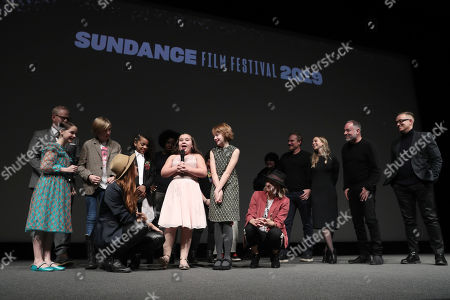 Directors Bert and Bertie, Mckenna Grace, Charlie Shotwell, Johanna Colon, Bella Higginbotham, Actor Jim Gaffigan, Filmmaker Viola Davis, Producer Todd Black and Composer Rob Lord on stage
