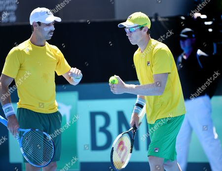 John Peers (R) and Jordan Thompson (L) of Australia during their doubles match on day two of the the Davis Cup qualifier between Australia and Bosnia and Herzegovina at Memorial Drive Tennis Club in Adelaide, South Australia, Australia, 02 February 2019.