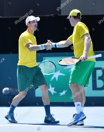 Stock Photo of John Peers (R) and Jordan Thompson (L) of Australia during their doubles match on day two of the the Davis Cup qualifier between Australia and Bosnia and Herzegovina at Memorial Drive Tennis Club in Adelaide, South Australia, Australia, 02 February 2019.