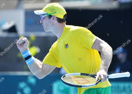 John Peers of Australia celebrates during their doubles match on day two of the the Davis Cup qualifier between Australia and Bosnia and Herzegovina at Memorial Drive Tennis Club in Adelaide, South Australia, Australia, 02 February 2019.