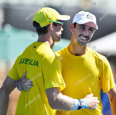 John Peers (L) and Jordan Thompson (R) of Australia celebrate after winning their doubles match on day two of the the Davis Cup qualifier between Australia and Bosnia and Herzegovina at Memorial Drive Tennis Club in Adelaide, South Australia, Australia, 02 February 2019.