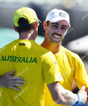 Stock Picture of John Peers (L) and Jordan Thompson (R) of Australia celebrate after winning their doubles match on day two of the the Davis Cup qualifier between Australia and Bosnia and Herzegovina at Memorial Drive Tennis Club in Adelaide, South Australia, Australia, 02 February 2019.