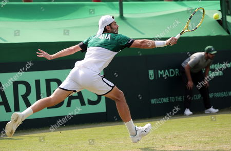 Italy's Simone Bolelli in action during his doubles match with Matteo Berrettini against Rohan Bopanna and Divij Sharan of India at the Davis Cup qualifiers round tie between India and Italy in Kolkata, eastern India, 02 February 2019.