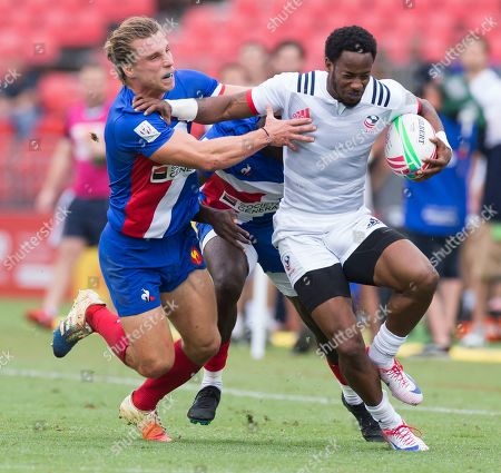 Stock Picture of Carlin Isles of the USA during the Sydney 7's rugby pool match between the USA and France at Spotless Stadium in Sydney, New South Wales, Australia, 02 February 2019.