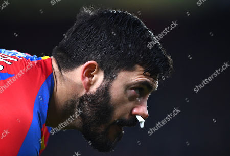 James Tomkins of Crystal Palace plays with cotton buds up both nostrils