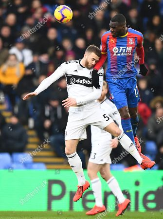 Calum Chambers of Fulham battles with Christian Benteke of Crystal Palace