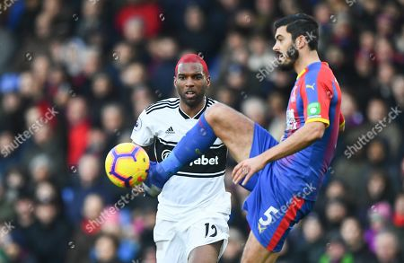 Ryan Babel of Fulham and James Tomkins of Crystal Palace