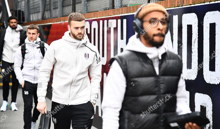 Calum Chambers of Fulham arrives, 2nd right