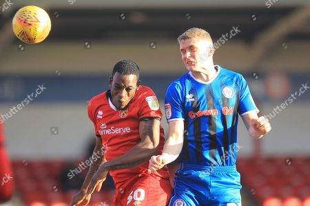 Stock Picture of Isaiah Osbourne and Ethan Hamilton during the EFL Sky Bet League 1 match between Walsall and Rochdale at the Banks's Stadium, Walsall