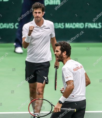 Robin Haase (L) and Jean-Julien Rojer (R) of the Netherlands in action against Lukas Rosol and Jiri Vesely of Czech Republic during the Davis Cup qualifier  between Czech Repubic and the Netherlands in Ostrava, Czech Republic, 02 February 2019.