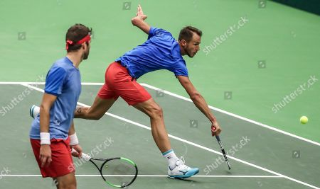 Lukas Rosol (R) and Jiri Vesely (L) of Czech Republic in action against Robin Haase and Jean-Julien Rojer of the Netherlands during the Davis Cup qualifier between Czech Repubic and the Netherlands in Ostrava, Czech Republic, 02 February 2019.