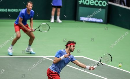 Lukas Rosol (L) and Jiri Vesely (R) of Czech Republic in action against Robin Haase and Jean-Julien Rojer of the Netherlands during the Davis Cup qualifier between Czech Repubic and the Netherlands in Ostrava, Czech Republic, 02 February 2019.
